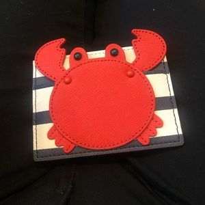 Kate Spade- Crab appliqué Card holder.